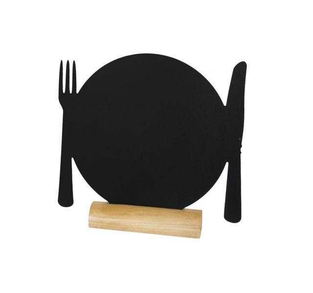 Securit Ardoise noire - Silhouette de table Assiette + Marqueur craie liquide