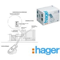 Hager - Kit interphone Sans Fil 400m, platine clavier 2 logements+batterie+tèl