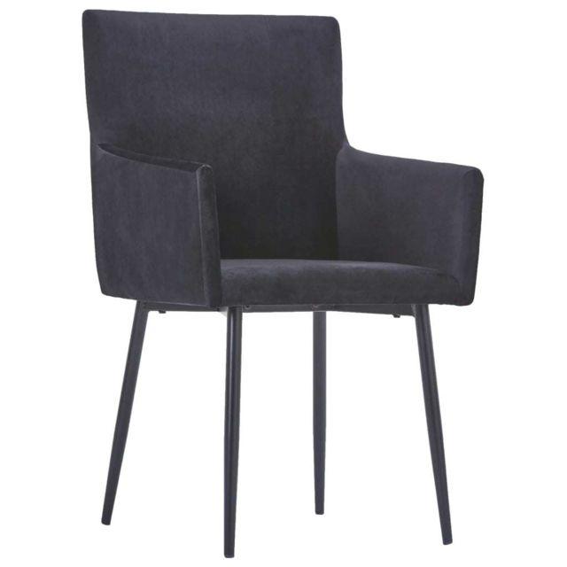 Chaises de cuisine gamme Chaises de salle à manger avec accoudoirs 4 pcs Noir Velours