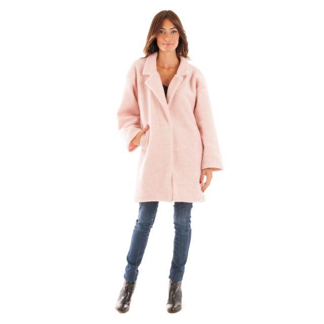 officiel 2019 meilleurs dernière remise Manteau Mi Long Laine Bouillie Taille Femme - 44, Couleur - rose