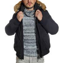 Young And Rich - Veste hiver noire rembourrée à capuche