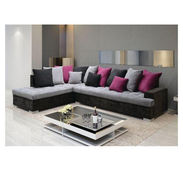 CHLOE DESIGN Canapé d'angle BERKER - Gris et noir - Angle gauche