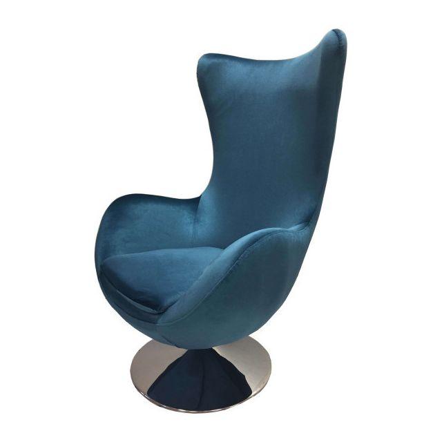 Mathi Design Suede - Fauteuil design en velours bleu nacré