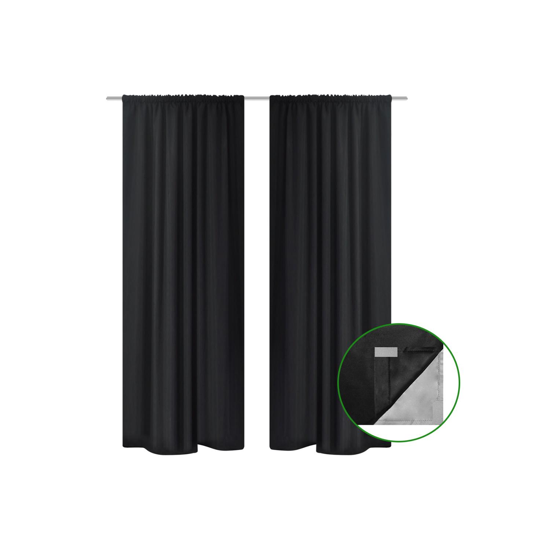 Rocambolesk - Superbe 2 pcs Rideau Blackout Doublé Occultant Noir 140 x 245 cm Neuf