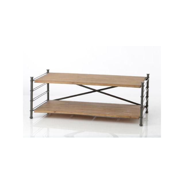 HELLIN Table basse modulable en bois métal 2 tiroirs - Alane