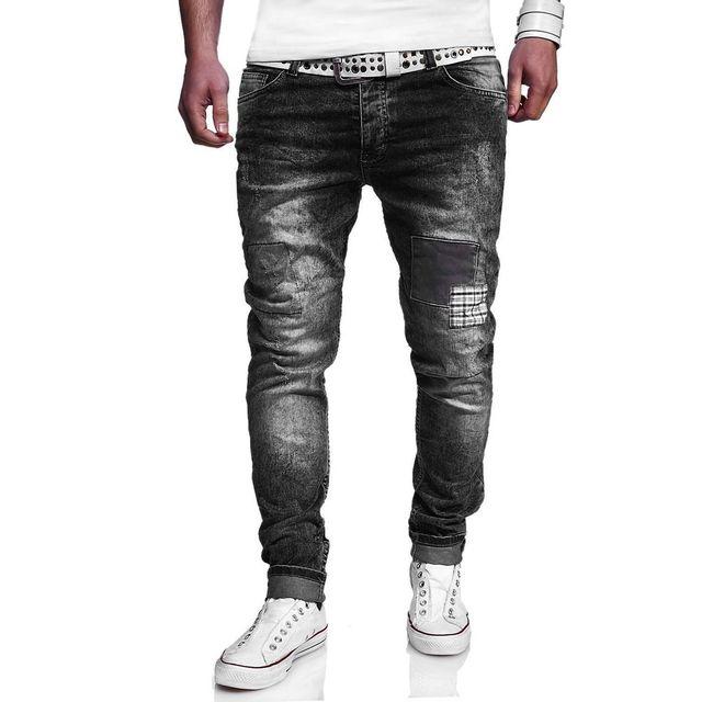 kc 1981 jean fashion homme d chir jeans 3182 gris fonc. Black Bedroom Furniture Sets. Home Design Ideas