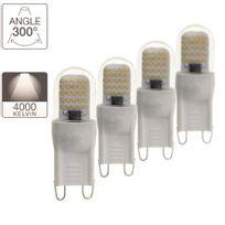 Xanlite - Pack de 3 + 1 ampoules Led G9, culot G9, blanc neutre2,6W 20W