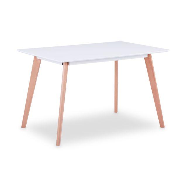 MENZZO Table rectangulaire scandinave Sabina Blanc