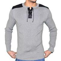 Stef Wear - Pull Col Lanieres - Homme - Stef 725 - Gris