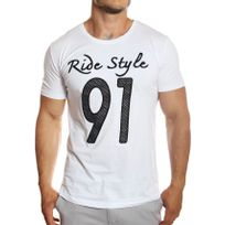 Tazzio - T-shirt Ride Style col rond manches courtes blanc