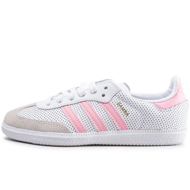 Adidas Samba Og Blanche Et Rose Enfant pas cher Achat