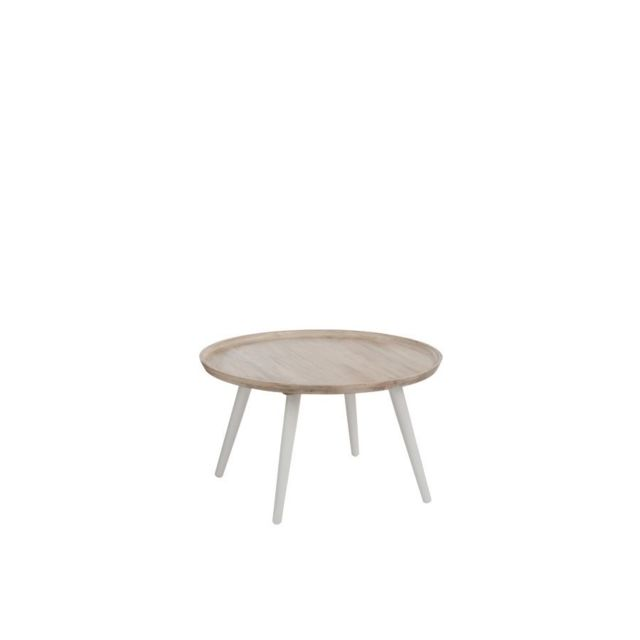 HELLIN TABLE BASSE RONDE EN BOIS - RETRO
