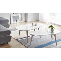 Bobochic - Tables basses Gigognes Scandinaves - Lot de 2 - Mdf laqué Blanc / blanc