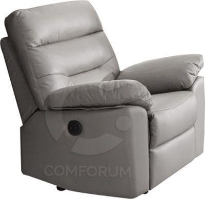 Comforium Fauteuil 1 place en cuir et pvc avec relax électrique coloris taupe