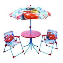 Cars - Salon de jardin enfant complet - Parasol, table et 2 fauteuils