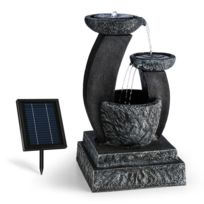 BLUMFELDT - Fontaine décoration jardin 3W solaire LED polyrésine - aspect pierre