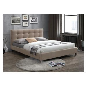 declikdeco lit beige 160 en tissu avec t te de lit. Black Bedroom Furniture Sets. Home Design Ideas