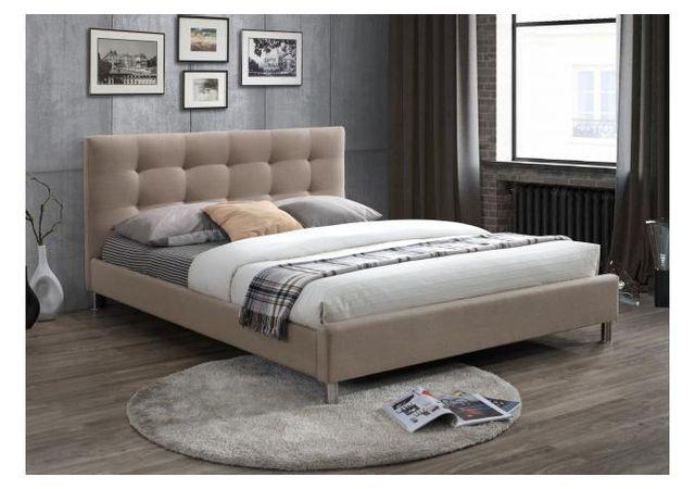 declikdeco lit beige 160 en tissu avec t te de lit. Black Bedroom Furniture Sets. Home Design Ideas
