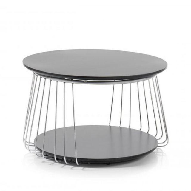 Inside 75 Table basse Vella 70 cm design laque noir mat