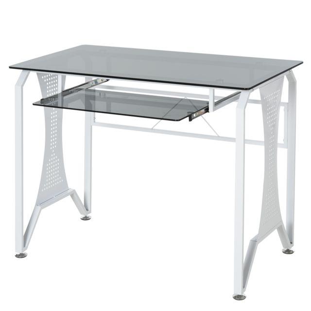 HOMCOM Table Informatique Bureau pour Ordinateur avec Clavier Coulissant Plateau Verre Trempé 100 x 54,5 x 75 cm Gris et Blanc