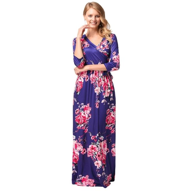 Bleu Femmes Motif Femme Manches Wewoo Robe Mode Impression Fleur Nwv8n0mO