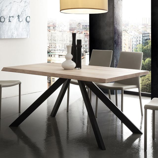 Nouvomeuble Table à manger en bois massif et métal Ilona 3