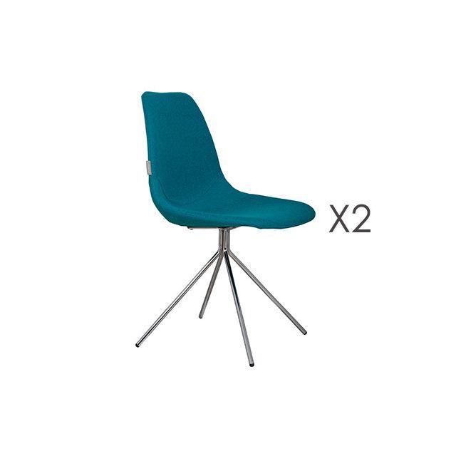 Lot de 2 fauteuils en tissu - bleu