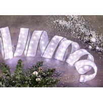 No Name - Guirlande tissus - Ruban de décoration incluant 100 mini leds sur fil de cuivre - A positionner sur 5m - Blanc fixe - Noël, Mariage, fêtes