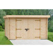 - Garage en pin massif 4x5,5m - Plum