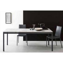 Inside75 - Calligaris Table extensible Snap gris beton piétement gris opaque 130x90 cm