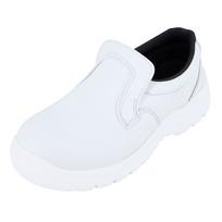label blouse chaussure de cuisine blanche forme mocassin norme iso20346 semelle anti drapante et semelle