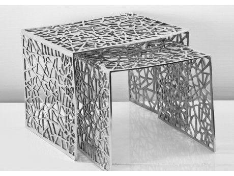 Insideart Lot de 2 tables basses Eclat de la marque Inside Art - 39 50 39cm et 39 39 36cm