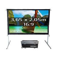 Kimex - Ecran de projection valise 3,05 x 1,72m, format 16:9, Toile Avant