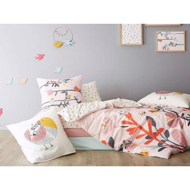 catimini housse de couette r versible coton oiseau fleurs rose blanc l 39 oiseau chanteur. Black Bedroom Furniture Sets. Home Design Ideas