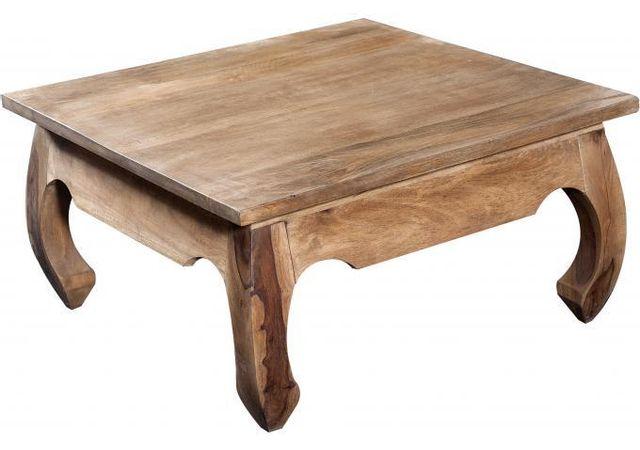 Declikdeco Table basse carrée en bois naturel Kabaena