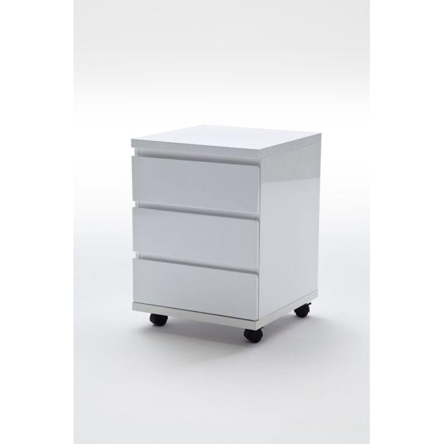 Pegane Caisson à tiroirs laqué blanc brillant - L42 x H57 x P42 cm
