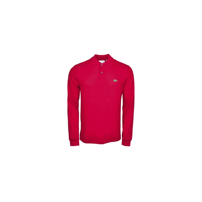 c11e8d88a5 Lacoste - Polo manches longues basique rouge bordeaux pour homme ...