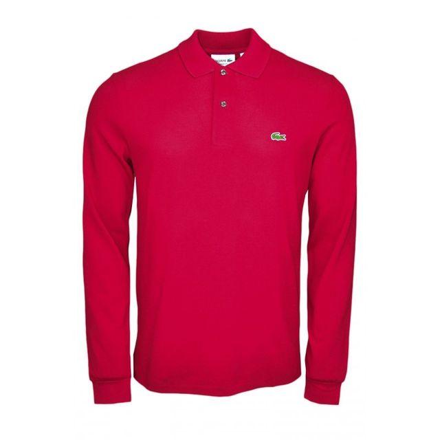Lacoste - Polo manches longues basique rouge bordeaux pour homme - pas cher  Achat   Vente Polo homme - RueDuCommerce 8970e32f188