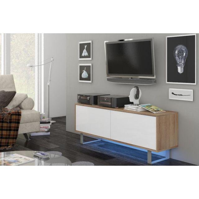Vivaldi King 1 Meuble Tv Design coloris chêne sonoma avec blanc brillant. Eclairage à la Led bleue