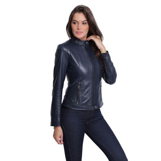 Veste en cuir pas cher pour femme