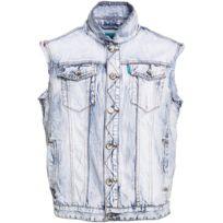 Gov Denim - Veste en jean sans manches urbain Bleu Td_0580 XL