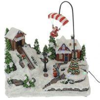 Eminza - Village de Noël illuminé Père Noël en parachute