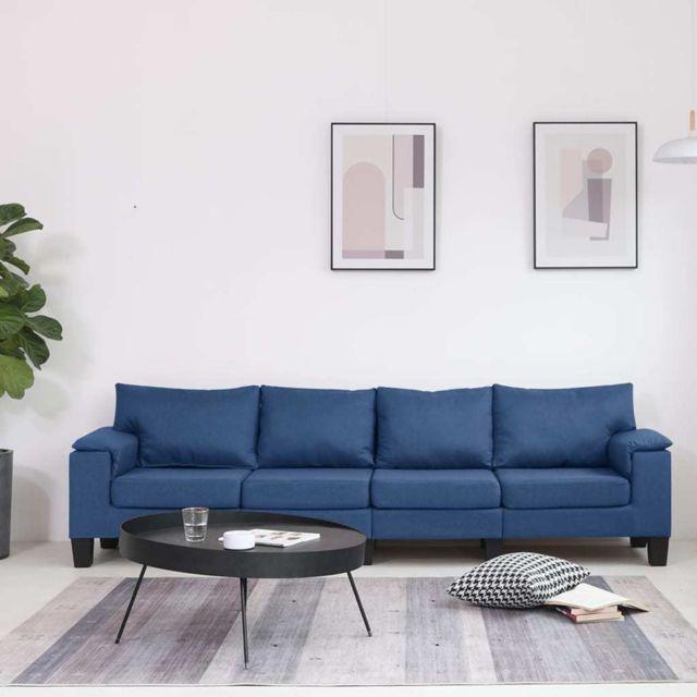 Vidaxl Canapé à 4 places Bleu Tissu