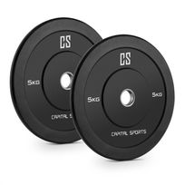 CAPITAL SPORTS - Elongate 5 Paire de disques pour haltères poids caoutchouc 2x 5kg