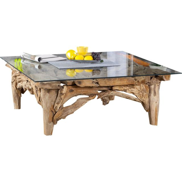 Comforium Table basse design en bois naturel