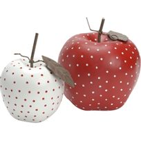 AMADEUS - Pommes déco à pois coloris rouge et blanc