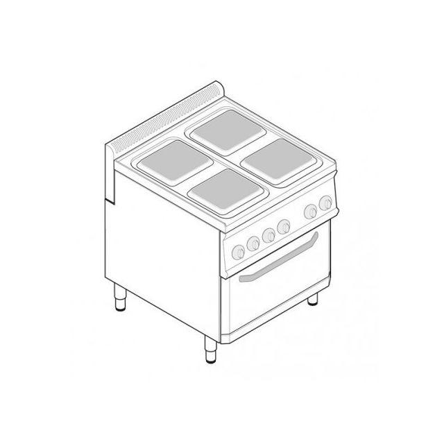 Materiel Chr Pro Fourneau électrique avec four électrique ventilé Gn 1/1 - 4 plaques carrées - gamme 700 - modules 350 - Tecnoinox - 700