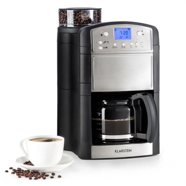 KLARSTEIN Aromatica machine à café cafetière moulin 10 tasses verseuse en verre Aroma+ inox