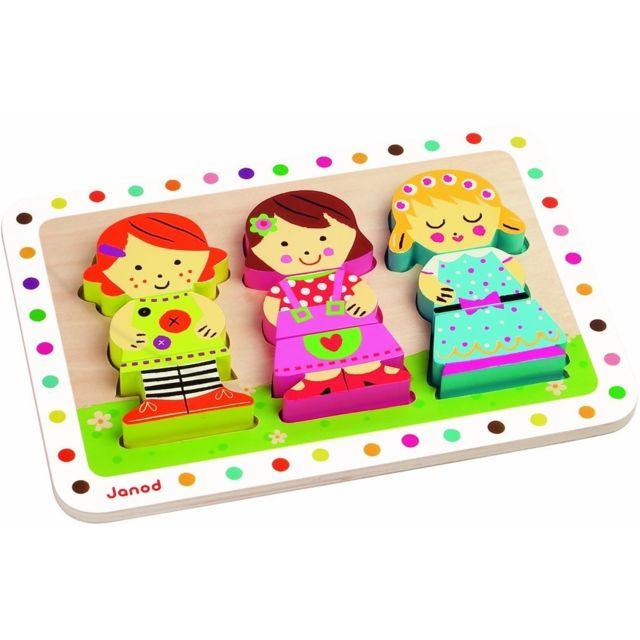 JANOD 07027 - Puzzle en Bois - Chunky Puzzle Dolls