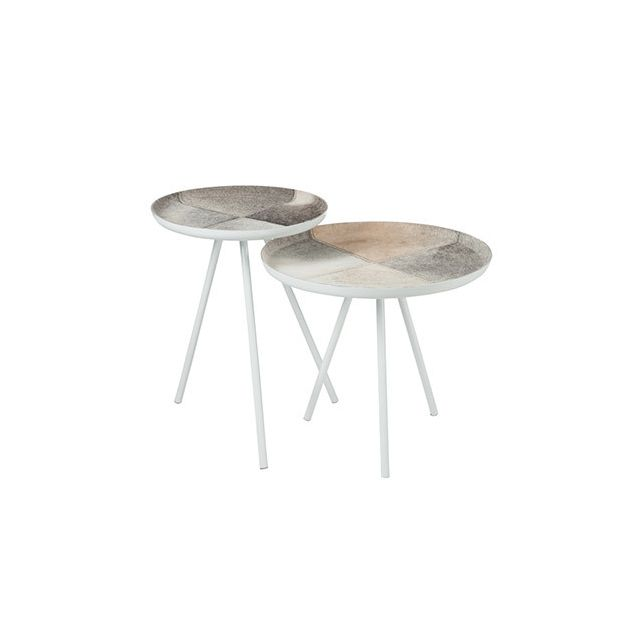 Set de 2 tables gigognes en métal gris